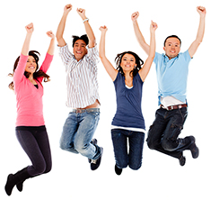 Teens leaping in the air having fun at the B.C. Schizophrenia Society Prince George Branch where they are getting help.